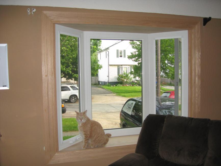 Bay Window With Wide Oak Interior Trim Gnhe Windows