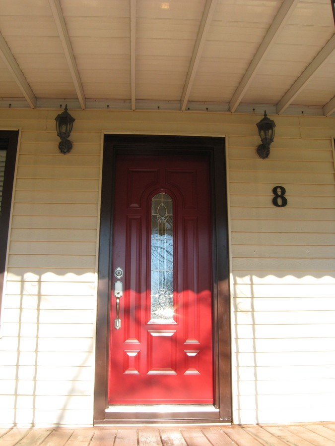 Painted Red Steel Door With Brown Capping Gnhe Windows